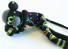 Sock Monkey-Teenage Muntant Ninja Turtle-Handmade-Monkey-Comic-Books-Movie-Video-Games-Plush-TMNT-Green, Black, Polka Dots, Pink, Blue by MissysMonkeys on Etsy