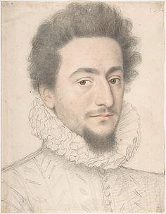 Portrait of a Man - Anonymous, French, 16th Century.  Black and red chalk highlighted with white