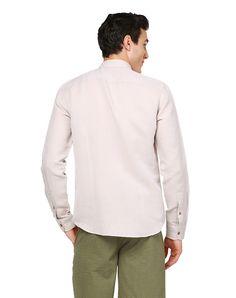 Slim Fit Keten Uzun Kollu Gömlek