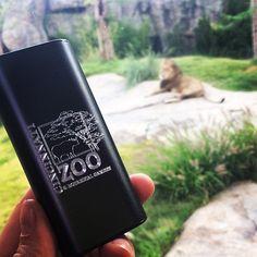Plusblue custom engraved portable charger with Cincinnati Zoo logo