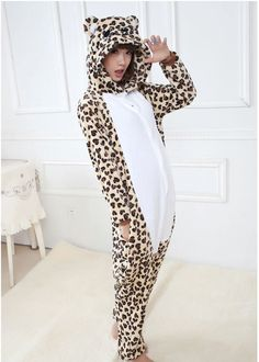 8f8ea64e28 Animal eopard Onesie Adult Unisex Cosplay Costume Pajamas All In One Party cute  cotton polyester animal