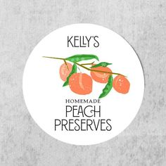 """Round Peach Jam Labels, Regular or Wide MouthPeach Canning Labels, personalized circle labels for your homemade Peach Preserves!Only labels included, no canning jars or lids2""""  or 2.5"""" glossy circles (each set must be all the same)Glossy labelTo order:In the 'Notes to Seller' box upon checkout,  please include:line 1 : Name or Title (i.e. Annie's)line 2"""" Homemade by or alternate wordingline 2 : Food title (i.e. Peach Salsa, Peach Preserves etc)Once you have paid for your labels, we will assemble Peach Salsa, Peach Jam, Canning Labels, Canning Jars, Seville Orange Marmalade, Jam Label, Peach Preserves, Circle Labels, Circles"""