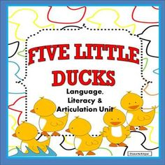Speech Therapy Five Little Ducks Unit 15 activities for pre-k and early elementary students. Teach articulation of final /k/, language, literacy and phonological awareness. Little Duck, Five Little, Speech Therapy Activities, Language Activities, Cookie Sheet Activities, Do A Dot, Learning Cards, Phonological Awareness, Literacy Centers