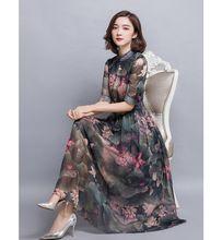 robe vintage woman clothes lotus print big size chiffon dress stand half sleeve plus size dresses for women S-L XL XXL XXXL 4XL(China (Mainland))