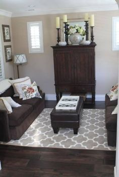 New Dark Wood Furniture Living Room Paint Colors Ideas Dark Wood Furniture Living Room, Living Room Wood Floor, Brown Furniture, Living Room Flooring, Living Room Grey, Rugs In Living Room, Room Rugs, Living Room Ideas With Dark Wood Floors, Area Rugs