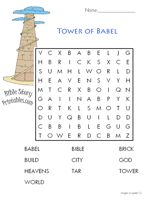Tower Of Babel Color Sheet See More Bible Printables Word Searches Mazes Crosswords