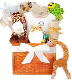 Here we have a small sample of the many baby shower gift baskets that we have. Some of these gift baskets are neutral and can be given to a baby...