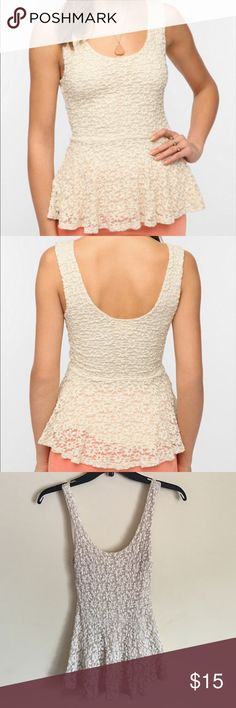 {Pins & Needles} Lace Tank Top 🌸 Cream Pins & Needles Daisy Lace Peplum Tank Top from Urban Outfitters; Attached liner underneath; Size XS; Great condition (no stains or defects) Pins & Needles Tops Tank Tops