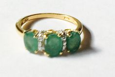 Vintage Emerald Ring With Diamonds in 14k by NorthCoastCottage
