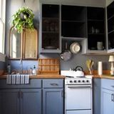Go monotone with the walls, cabinets, and soffits. Via Apartment Therapy
