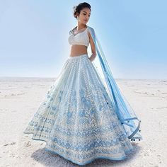 Anita Dongre is launching her Summer 2019 Collection and this one… Seen this yet? Anita Dongre is. Indian Lehenga, Indian Gowns, Indian Attire, Indian Ethnic Wear, Blue Lehenga, Floral Lehenga, Bollywood Lehenga, Lehenga Choli Designs, Lehenga Designs Latest