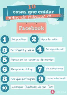 Cosas que cuidar antes de publicar en Facebook. Infografía en español. #CommunityManager