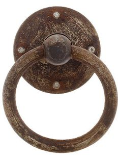 www.houseofantiquehardware.com/   Steel Ring Pull In Distressed Rust Finish  Whether you live in a rustic lodge or an industrial loft, our rugged steel hardware is just the thing. The surface is heavily rusted and distressed, creating the look of genuine architectural salvage. Offered in a wide range of knobs, pulls and more, it's ideal for cabinets and furniture throughout your home. Made in Italy.   $9.49