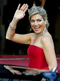 MELLERIO RUBY PARURE OF THE NETHERLANDS: Diamonds are a girl's best friend. Queen Maxima looks smashing in the famous Mellerio Ruby Parure previously worn by the former Queen Beatrix.