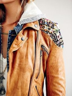 Brown jacket, jean jacket and white blouse