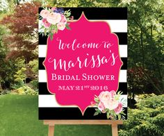 I love this for an invite. Use for a basic layoit design. Kate Spade Shower Welcome Sign Large Welcome Sign Baby Shower Welcome Sign Floral Bridal Sign Pink Shower Sign, Black White Stripes Kate Spade Party, Kate Spade Bridal, Theme Nature, Pink Showers, Baby Shower Welcome Sign, Girl Shower, Bridal Shower, Etsy, Black White
