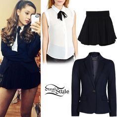 ariana grande steal her style | Ariana Grande: Heart Print Leather Skirt ...