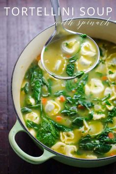 easy spinach tortellini soup recipe is ready in 30 minutes. It's become an Umami Girl fan favorite.This easy spinach tortellini soup recipe is ready in 30 minutes. It's become an Umami Girl fan favorite. Spinach Tortellini Soup, Tortellini Recipes, Kale Soup, Wonton Soup Recipes, Vegan Tortellini, Sausage Tortellini, Pea Soup, Simple Noodle Soup Recipe, Simple Soup Recipes