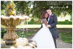 Bride and Groom at Gisborough Hall Hotel Hotel Wedding, Dream Wedding, St Margaret, Vibrant Colors, Fountain, Groom, Bridesmaid, Wedding Ideas, Purple