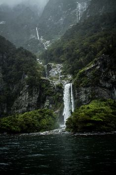 Milford Sound in New Zealand. Its FULL of scenes like this. Thousands of magical Waterfalls in Milford! Tons of Bush in Milford! Beautiful Waterfalls, Beautiful Landscapes, Oh The Places You'll Go, Places To Travel, Travel Destinations, Beautiful World, Beautiful Places, Nature Sauvage, Milford Sound