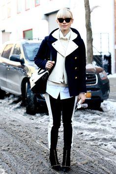 Rayas, superposiciones, solapas en las chaquetas