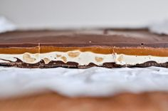 """Homemade snickers bars recipe from """"how Sweet it is"""" Snickers Bars Recipe, Homemade Snickers, Homemade Chocolate, Just Desserts, Delicious Desserts, Yummy Food, Tasty, Shortbread, Candy Recipes"""