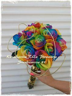 Bukiet ślubny z kolorowych róż :-)