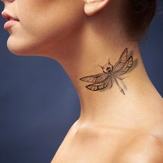 Lace dragonfly tattoo - side neck