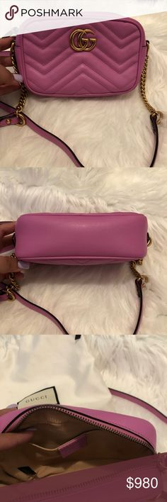 6a405ce8bc97 Gucci Marmont Matelasse Bag 100% AUTHENTIC GUCCI Bag. This color is no  longer being sold. In like new condition. Great pop of pink color. Dust bag  included.