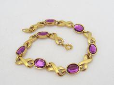 Vintage By AVON Jewelry Gold Tone Purple Rhinestone Link Bracelet 7 1/2'' Length by wandajewelry2013 on Etsy