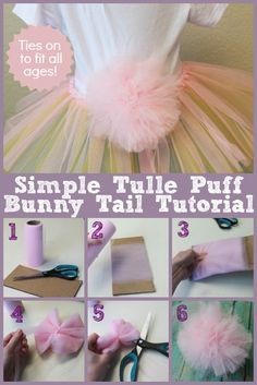 Create a tulle puff bunny tail to tie on for pictures or egg hunts.