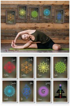 7 Chakras Yoga Prints Download, Seven Chakras Yoga Decor Studio, Printable Yoga Studio Gift, Digital Yoga Posters, Downloadable Yoga Art, Seven Chakras Meditation Wall Art. Click to shop now or Save to view later!