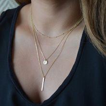 1 unid europea simple de plata chapado en oro múltiples capas de las borlas de la moneda bar collar cadenas de clavícula del encanto de las mujeres joyería moda colar(China (Mainland))