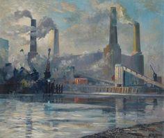Battersea Power Station, London by Robert C. D. Lowry 1972. Oil on Board (Wandsworth Museum)