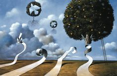 Subtle Precondition of Passion by Rafal Olbinski, 2008. Acrylic and oil on canvas, 19.75 x 29.5 inches.