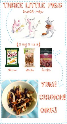 """Are your kiddos really into fairy tales, especially the """"Three Little Pigs?"""" Check out this fun mom-created snack mix that features dried fruit """"bricks,"""" pretzel """"sticks,"""" and veggie """"straw."""" It's super easy, healthy and your kids will gobble it up during story time!"""