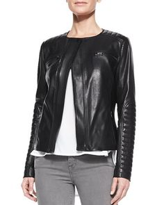 Quilted-Patch Leather Moto Jacket at CUSP.