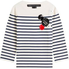 Marc by Marc Jacobs Cotton Breton Striped Shirt ($190) ❤ liked on Polyvore featuring tops, stripes, sequin shirt, white 3/4 sleeve shirt, 3/4 sleeve tops, breton stripe shirt and white cotton shirt
