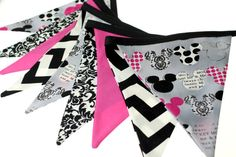 Minnie Mouse - Fabric Pennant Bunting Banner - great for birthday party decor, nursery, playroom, photo prop
