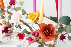 Rose branches made from candles. DIY items for #home #decor.  I found this in a Chinese web. Repin it if you like, maybe someday, you can do it yourself.