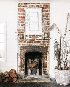 small rustic fireplace