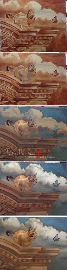 "Painting in progress by Diane Hoeptner.  ""Palace Cat,"" 11"" x 14,"" Oil on wood, private collection."
