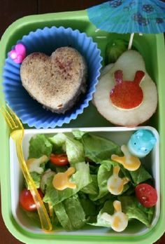 For this bento, there is a salad with tomatoes & cheese bunnies with a little bunny container of homemade ranch dressing. On the top is a sandwich ball heart filled with raspberry preserves. A cucumber wedge Kids Lunch For School, Healthy School Lunches, Bento Box Lunch, Lunch Snacks, Lunch Box Recipes, Lunchbox Ideas, Bento Ideas, Homemade Ranch Dressing, Family Fresh Meals