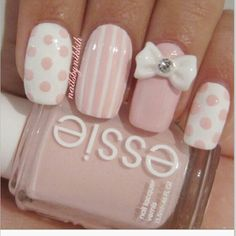Cute pink bow nails. i want to get bows like this!