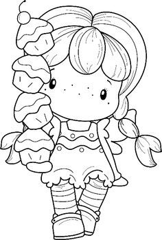 Designs Swiss Pixie Cupcake Birgitta Rubber Stamp - Click Image to Close Colouring Pics, Coloring Book Pages, Coloring For Kids, Coloring Sheets, Digital Stamps, Paper Dolls, Embroidery Patterns, Drawings, Illustration