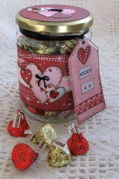 Altered Valentine Jar - Kisses for You