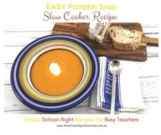 Slow Cooker Pumpkin Soup -School Night Recipes For Teachers Slow Cooker Pumpkin Soup, Creamed Potatoes, Easy Soup Recipes, Food To Make, Bacon, Dish, Tasty, Bread, Type