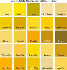 Color Swatches for Cyan, Yellow, Yellow-Green and Green - Gelb Yellow Paint Colors, Pastel Yellow, Yellow Painting, Shades Of Yellow, Color Yellow, Living Room Colors, Bedroom Colors, Yellow Walls Bedroom, Yellow Bedrooms