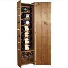Masif Ladin ağacından, antik görünümlü, alternatif ölçülerde, (14 şişe kapasiteli 150x40 cm ölçülerinde veya 10 şişe kapasiteli 120x40 cm ölçülerinde) 6 kadeh asılabilecek askı bölümlü, kapaklı şarap dolabı. 70 cl veya 100 cl gibi farklı boyutlarda şişelere uygundur.