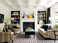 Paint the insets of built-ins with a contrasting color that coordinates with your design scheme.
